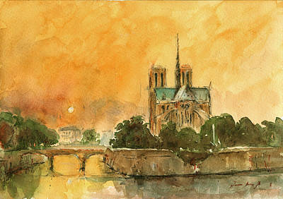 Paris Notre Dame Print by Juan  Bosco