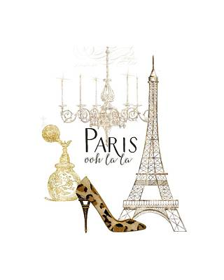 Paris - Ooh La La Fashion Eiffel Tower Chandelier Perfume Bottle Art Print by Audrey Jeanne Roberts