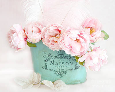 Shabby Chic Romantic Photograph - Paris Peonies Shabby Chic Dreamy Pink Peonies Romantic Cottage Chic Paris Peonies Floral Art by Kathy Fornal
