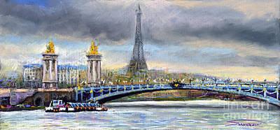 Pastels Pastel - Paris Pont Alexandre IIi by Yuriy  Shevchuk