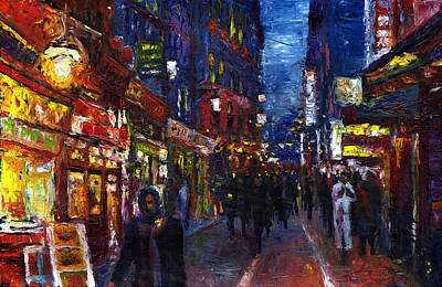 Night Painting - Paris Quartier Latin 01 by Yuriy  Shevchuk