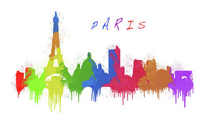 Language Mixed Media - Paris Skyline by Solomon Barroa