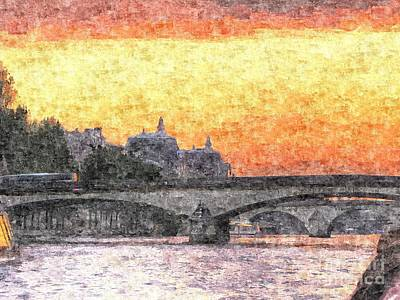 The Church Mixed Media - Paris Sunset by Yury Bashkin