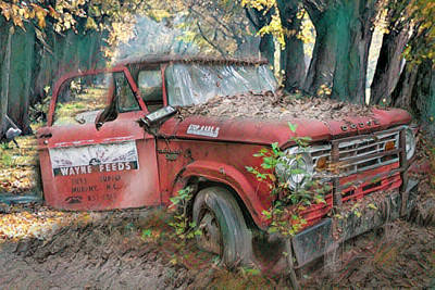 Photograph - Parked On A Country Road Watercolors Painting by Debra and Dave Vanderlaan