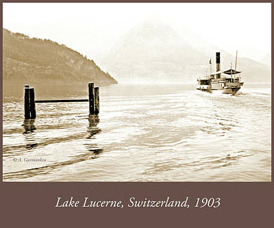 Photograph - Passenger Boat, Lake Lucerne, Switzerland, 1903, Vintage Photogr by A Gurmankin