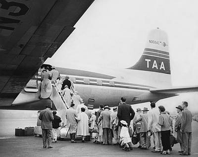 Boarding Photograph - Passengers Boarding Airplane by Underwood Archives
