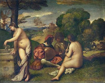 Outdoor Nude Painting - Pastoral Concert by Titian