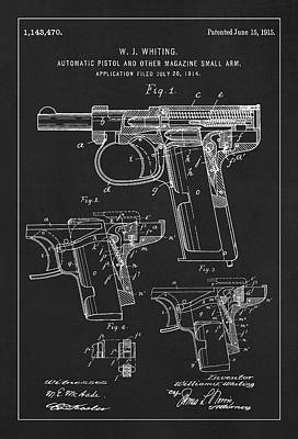 Handgun Digital Art - Patent Drawing For The 1915 Automatic Pistol And Other Magazine Small Arm By W. J. Whiting by Jose Elias - Sofia Pereira
