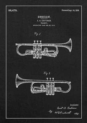 Brass Digital Art - Patent Drawing For The 1918 Trumpet By E. A. Couturier by Jose Elias - Sofia Pereira