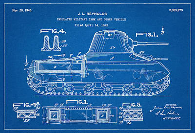 Reynolds Digital Art - Patent Drawing For The 1943 Insulated Military Tank And Other Vehicle By J. L. Reynolds by Jose Elias - Sofia Pereira