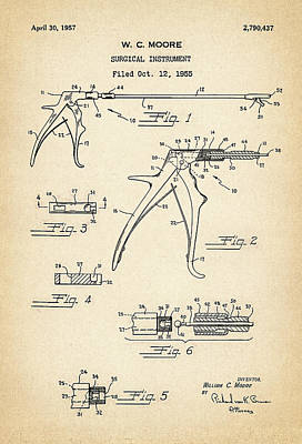 Surgical Instrument Digital Art - Patent Drawing For The 1955 Surgical Instrument By W. C. Moore by Jose Elias - Sofia Pereira