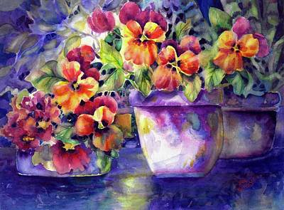 Painting - Patio Pansies by Ann Nicholson