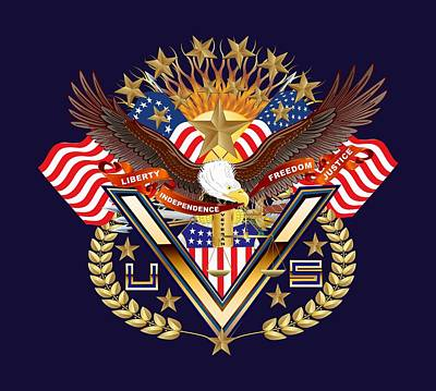 Congressman Digital Art - Patriotic America Mixed Designs W-transparent Back Pick Your Color by Bill Campitelle