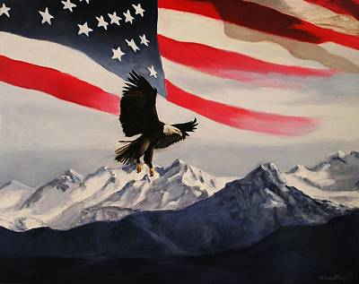 Patriotic Eagle And Flag Art Print by Glenn Ledford