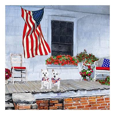 Westie Digital Art - Patriotic Westies by Ann Kallal