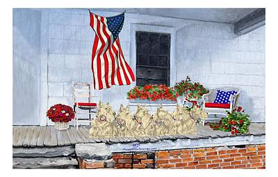 Painting - Patriotic Wheaten Scotties by Ann Kallal
