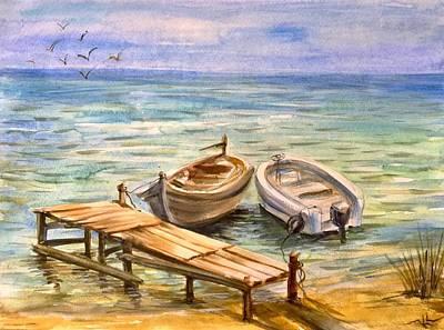 Painting - Peaceful Evening by Katerina Kovatcheva