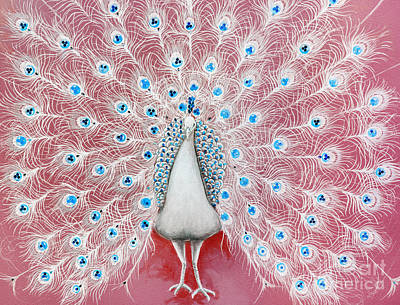 Stainglass Painting - Peacock Pattern On The Wall by Setsiri Silapasuwanchai