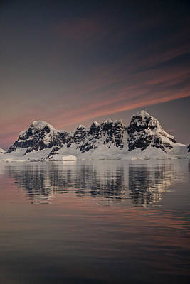 Snow. Mountain Photograph - Peaks At Sunset Wiencke Island by Colin Monteath