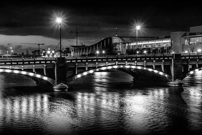 Lady Bug - Pearl Street Bridge at Night by Randall Nyhof