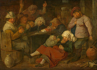 Pipe Painting - Peasant Party Drink by Adriaen Brouwer