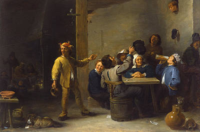 Puppy Painting - Peasants Celebrating Twelfth Night by David Teniers the Younger