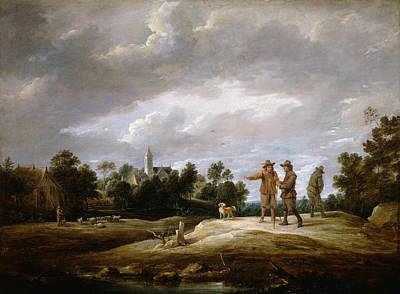 Scenery Painting - Peasants Conversing by David Teniers the Younger