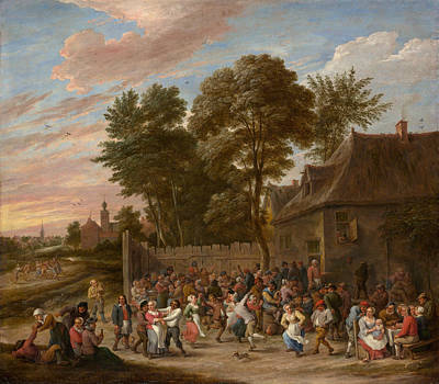 Cloudy Day Painting - Peasants Dancing And Feasting by David Teniers the Younger