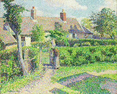 Grass Painting - Peasants' Houses, Eragny by Camille Pissarro
