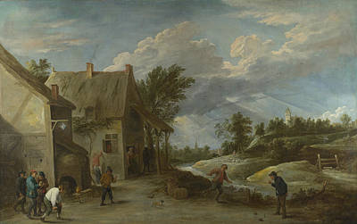 Digital Art - Peasants Playing Bowls Outside A Village Inn by David Teniers the Younger