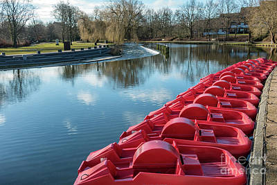 Pedal Red Punts In Odense River, Denmark Art Print by Frank Bach