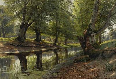 Morning Painting - Peder Mork Monsted, A Stream Through The Glen, Deer In The Distance by Peder Mork Monsted