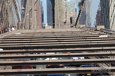 Photograph - Pedestrian And Motor Vehicle Traffic On The Brooklyn Bridge by John Telfer
