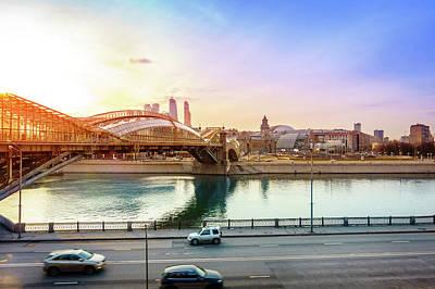 Kiev Photograph - Pedestrian Bridge Across The Moscow River by Alexey Stiop