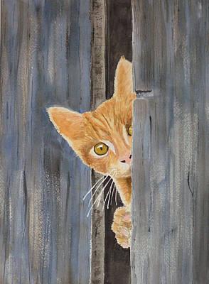 Painting - Peeking Kitty by Ally Benbrook