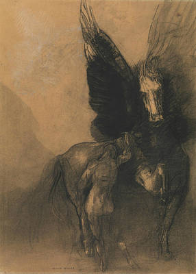 Pegasus Drawing - Pegasus And Bellerophon by Odilon Redon