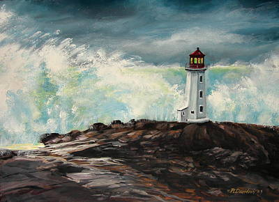 Peggy's Cove Lighthouse Hurricane Art Print by Patricia L Davidson