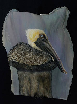 Painting - Pelican At The Pier by Nancy Lauby