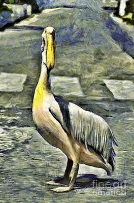 Pelican Painting - Pelican In Tinos Town by George Atsametakis