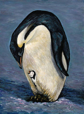 Painting - Penguin And Chick by Trish Campbell