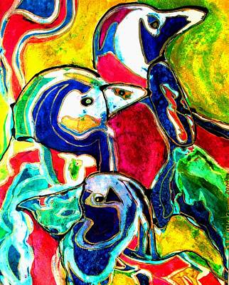 Penguins In Color Art Print