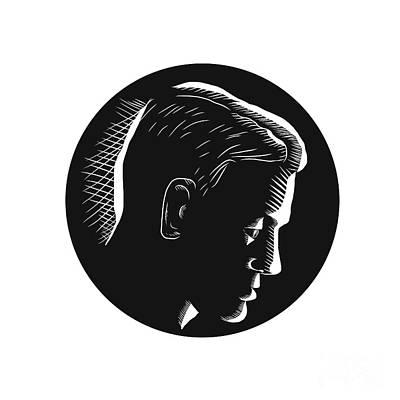 Pensive Man In Deep Thought Circle Woodcut Art Print by Aloysius Patrimonio