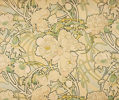 Drawing - Peonies by Alfons Mucha