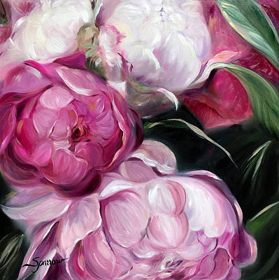 Soft Pastel Painting - Peonies by Mary Sparrow