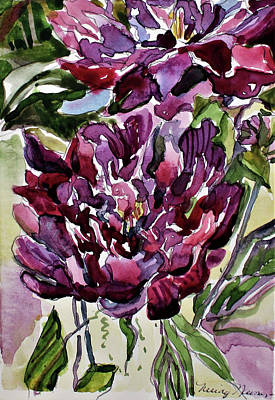 Miniature Watercolors Painting - Peonies by Mindy Newman