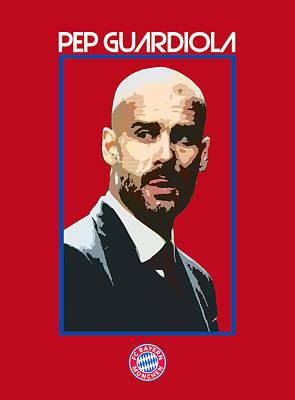 Bayern Digital Art - Pep Guardiola by Semih Yurdabak