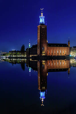 Photograph - Perfect Stockholm City Hall Blue Hour Reflection by Dejan Kostic