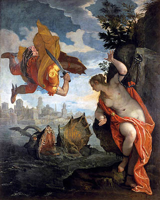 Unclothed Painting - Perseus Rescuing Andromeda by Paolo Veronese