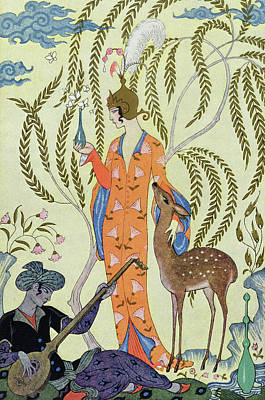 Playing Drawing - Persia by Georges Barbier