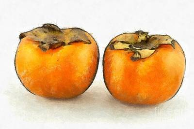 Painting - Persimmon Fruits by George Atsametakis